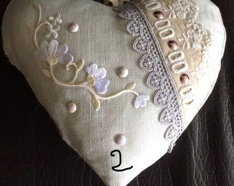 Linen hearts to hang