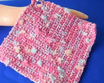Topflappen aus reiner Baumwolle / Baumwoll-Topflappen / rosa-pink-meliert