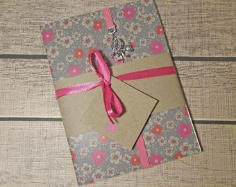 Liberty notebook A6 gray and pink color with elastic pink raspberry