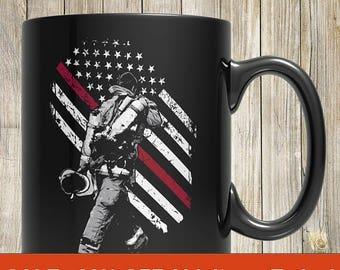 firefighter mug, firefighter gift, gift for firefighter, thin red line mug, firefighter coffee mug, thin red line mugs, firefighter mugs