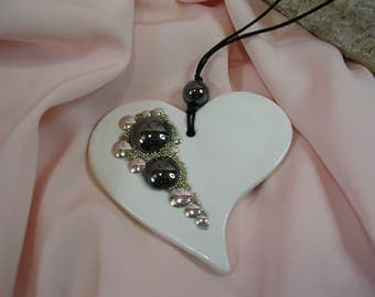 Pendant on cord and stones of Hematite - OOAK necklace