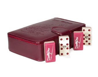 Don Quixote Domino 100% Acrylic, Faux Leather Case Engraved - Burgundy