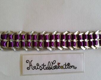 Bobbin Mod2 and Satin Purple Ribbon bottle cap bracelet