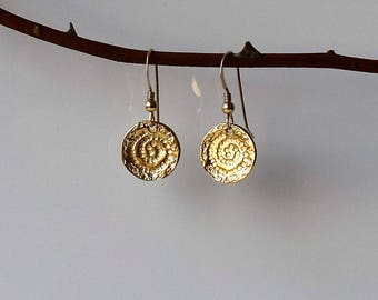 Gold Coin Earrings, Gold Dangle Earrings, Gold Earrings, Coin Drop Earrings, Gold Disc Earrings, Gold Filled Earrings, Tiny Gold Earrings