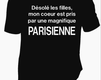 """No expensive text printed men Tee """"sorry my heart is made with a beautiful Paris"""""""