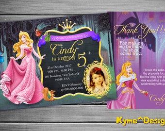 Sleeping Beauty Invitation, Sleeping Beauty Birthday Invitation Card, 5x7 Printable Birthday Card, Sleeping Beauty, Birthday Card Party