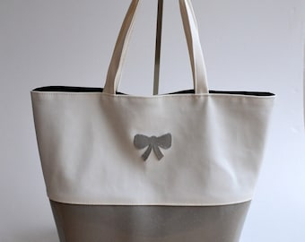 Bag bag imitation and Vinyl glitter hand made bow gray and white fashion woman @lacouturebytitia