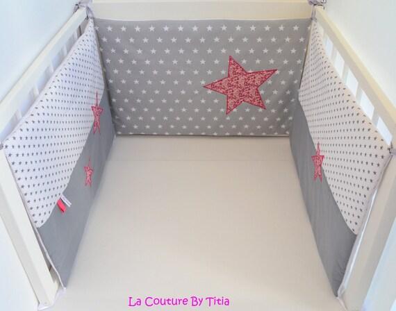 tour de lit fait main etoiles gris et liberty mitsi rose. Black Bedroom Furniture Sets. Home Design Ideas