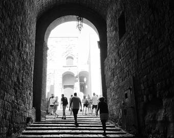 Black and white photograph, Steps inside the Castel dell'Ovo in Naples, Italy