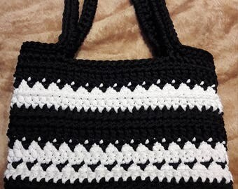 Shoulder bag, black and white, 100% handmade