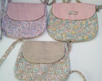 Shoulder bag adjustable linen and floral print