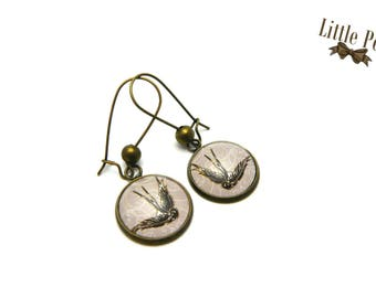 Swallow vintage glass dome earrings