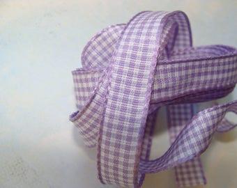 Ribbon 10mm purple gingham 1 m 40