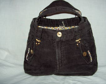 Handmade Brown velvet purse