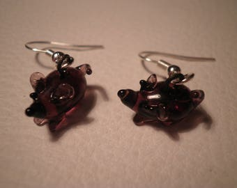 01882 - Small earrings mouse pink tone