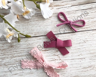 Pink hairbow, dainty headband, baby headbands, newborn bows