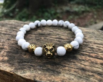 VKTR Men's Bracelet- 8mm Howlite Stone with Gold Lion Center, Beaded Bracelet