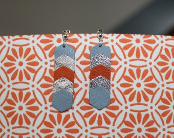 Earrings leather genuine Hexagon orange rust/blue/silver grey (pierced)