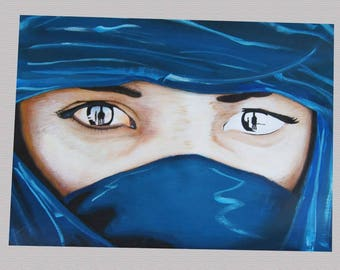 look elsewhere, portrait of a woman Tuareg painting