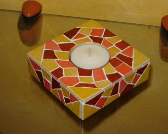 The yellow and ochre tones Square candle holder