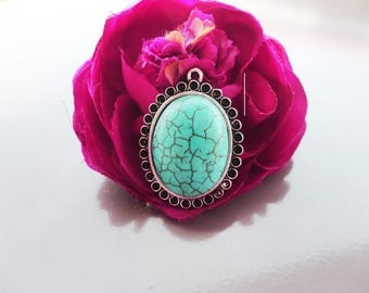 Silver turquoise stone, carved stamp and turquoise cabochon, 4.3 4.5 cm