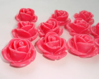 2 x 25 mm acrylic resin cabochon flower beads