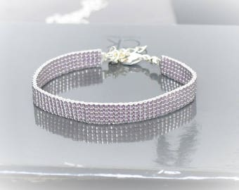 Pink woven bracelet in Miyuki Delica beads