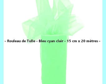 Tulle - Color blue light cyan - 15 cm wide x 20 meters - new