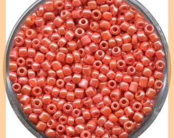 Orange Pearly seed bead - 2.5 mm - in plastic - box 15 g - new
