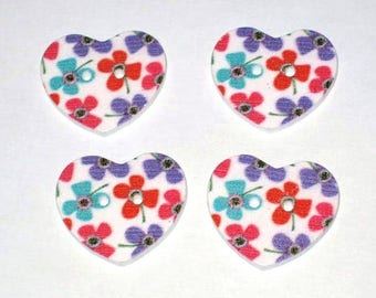 Set of 4 large 2cm heart shaped buttons