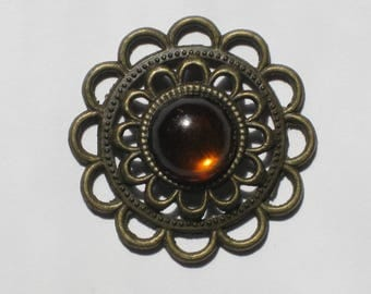 Pendant print in brass and amber cabochon