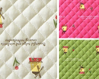 Windmill Cotton blend Ready quilted Fabric / BY HALF YARD / Pre-quilted / padded windmills / flower / green pink ivory HQ19+H
