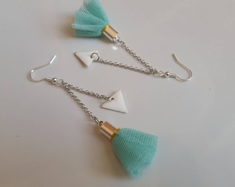 DIY kit earrings silver and sea green and white pom poms and sequins