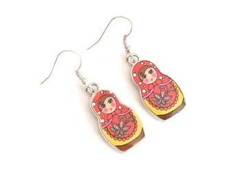Orange and yellow MATRYOSHKA earrings
