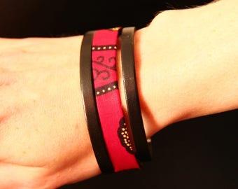 Bracelet leather - Lycoris and wax
