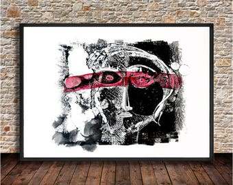 Series surprised size 70 x 100 cm black and Red abstract figurative, original painting on paper, for decoration of spaces