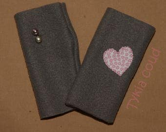 Fingerless gloves gray fleece, asymmetrical, with hearts and bells pattern