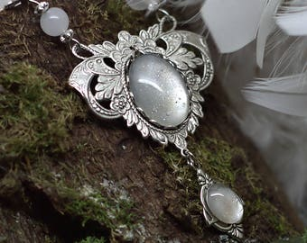 """Necklace """"White Elf"""" in Jasper prints in brass Silver Filled (Sterling/Sterling) and then aged & weathered with anti-tarnish treatment"""