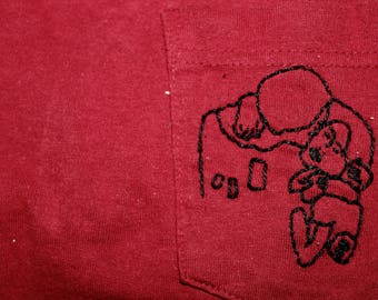 """Klimt """"The Kiss"""" Embroidered Pocketed T-Shirt"""