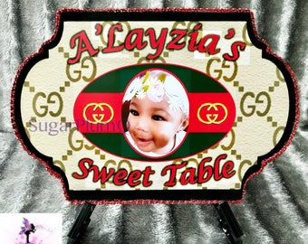 Customized  inspired Birthday Party Sweet Table | Dessert Table Hanging Sign | Freestanding Table Top Sign