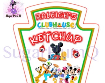 4 Heinz Inspired Mickey Mouse Clubhouse  Birthday Party Condiment Labels/Stickers | Choose 4 Stickers