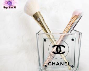 Thick Glass Makeup Brush Holder | Toothbrush Holder | Designer Inspired