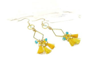 Geometric yellow and turquoise blue long boho earrings