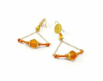 Orange geometric triangle earrings on silver chain