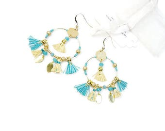 Hoop earrings boho chic Yellow straw and blue gold filled hooks