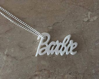 White Barbie logo necklace
