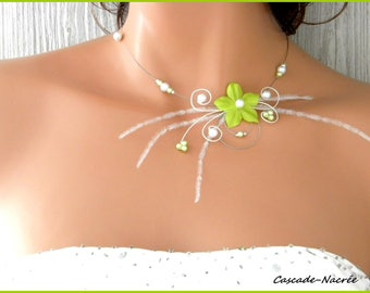 Ines flower bridal necklace Pearl wedding silver white lime green
