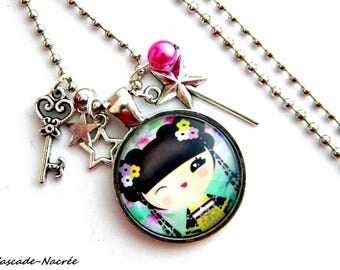 multicolored green girl pink photo bronze glass Dome cabochon KOKESHI necklace