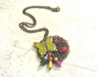 """Enchanted Lime Green Butterfly"" pendant by Little Valentine"