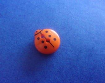 Orange Ladybug button, 2 holes - 13mmx12mm